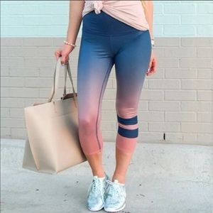 Alo Yoga Ombré Pink Blue High Rise Crop Legging S